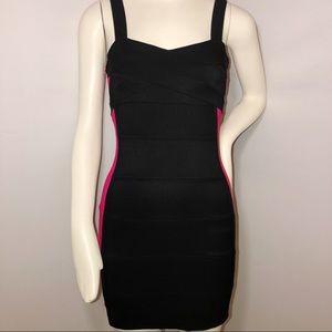 Charlotte Russe black dress hot pink stripes